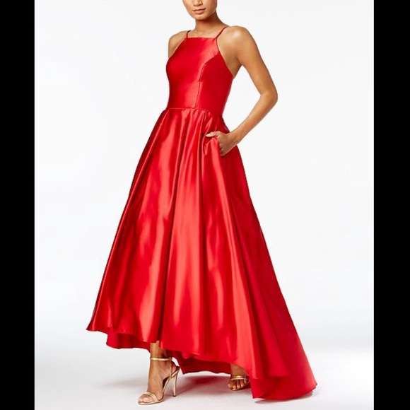 Betsy Adam Dresses Betsy Adam Red Satin Hilow Gown Prom Dress